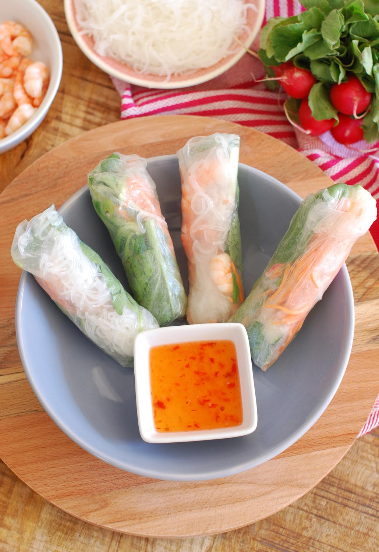 Rice paper rolls recept met vis fish
