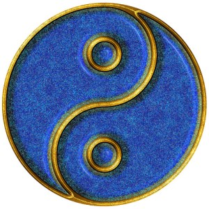 blue and gold ying/yang medallion