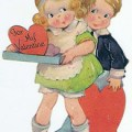 Vintage valentine with little boy and girl