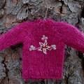 minature hand knit sweater in magenta