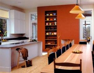 orange accent storage wall in kitchen