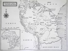 Karta över Tanganyika (Tanszania))