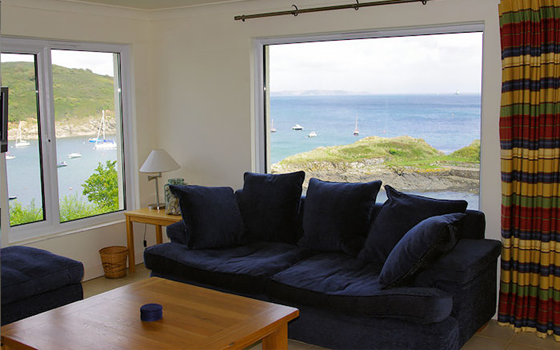 Chymor Cottage - lounge - sea views over the Helford in Cornwall