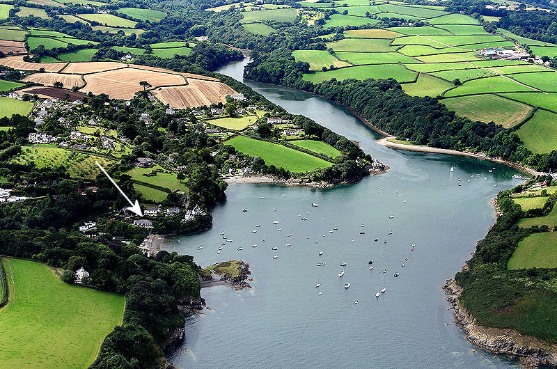 Gillan Creek in Cornwall from the air
