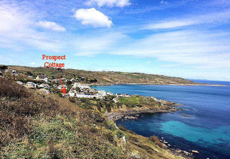 Prospect Cottage Coverack Cornwall - from the coastal path