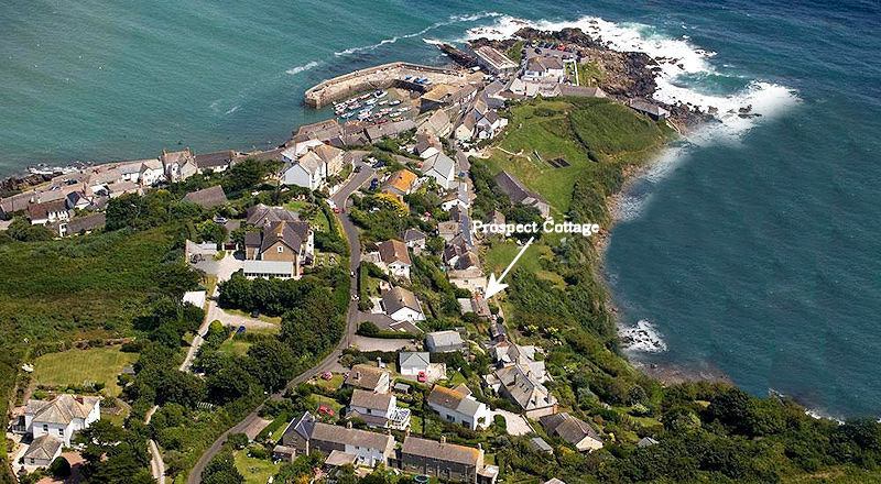 Prospect Cottage Coverack from the air