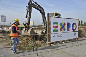 EXPO 2015.Posa della prima pietra al cantiere  di Rho Fiera