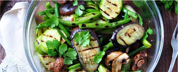 Grilled Eggplant, Zucchini & Mushroom Salad with Soy Vinegar Dressing-link