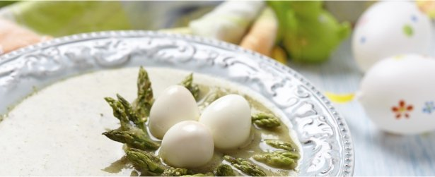 Asparagus Soup with Egg Nests-link