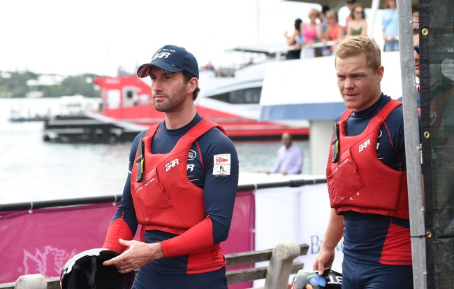 Americas Cup Sailors Dock Out Show. Land Rover Ben Ainslie Racing and team member head to their boats for the first day of racing.(Photograph by Akil Simmons)