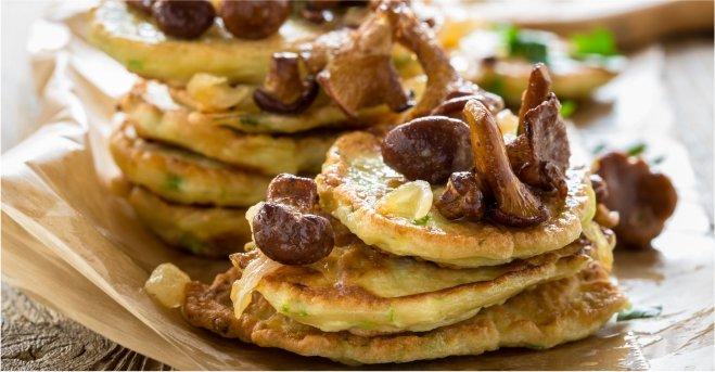 Zucchini Pancakes with Chanterelle Mushrooms