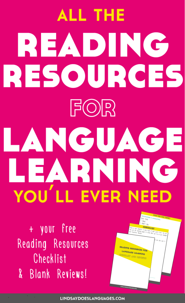 All the reading resources for language learning you'll ever need + a free checklist and review sheets. Click through to read + download your bonuses!