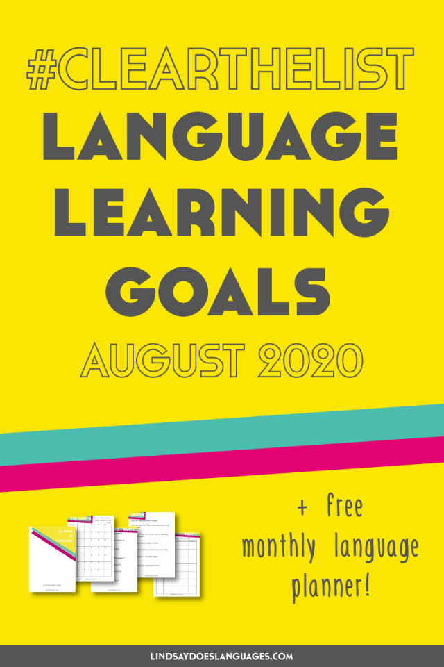 Goalers gonna goal, goal, goal, goal, goal. Goal it off. I'm listening to Taylor Swift that's not Folklore. Can you tell? Anyway. Here's my language learning goals for August 2020. ➔