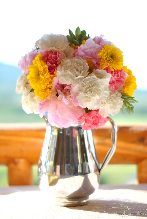 flowers rustic summer wedding reception