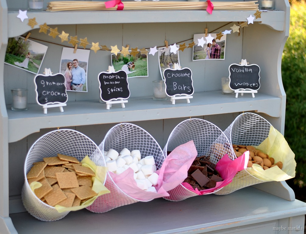 decorate hutch for rustic summer wedding reception s'mores bar