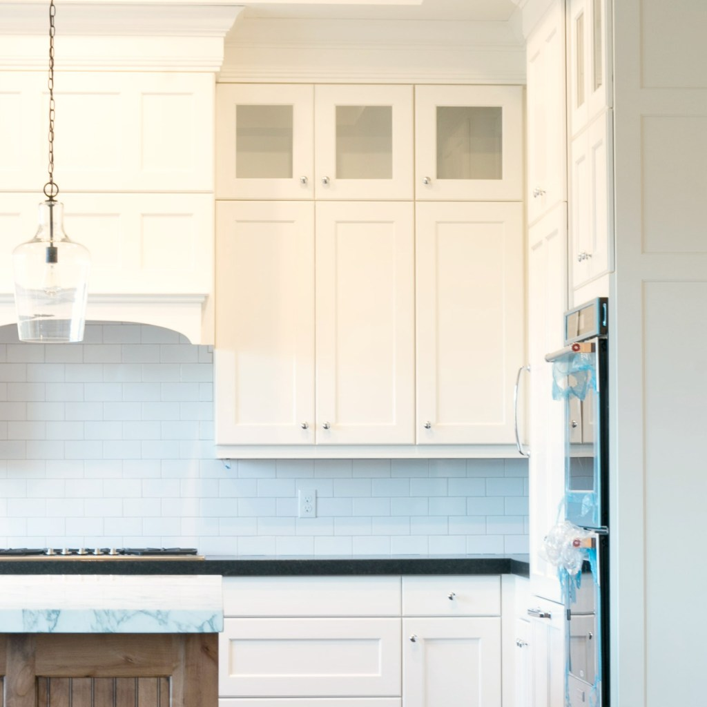 white kitchen detail in classic mountain home