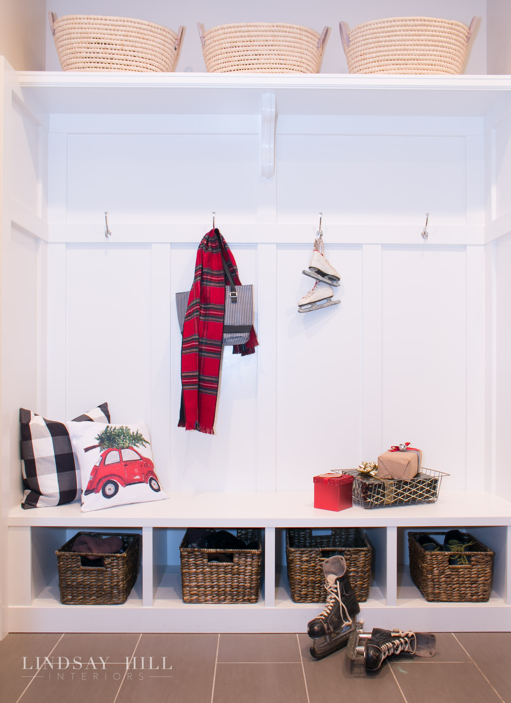 christmas mudroom with ice skates