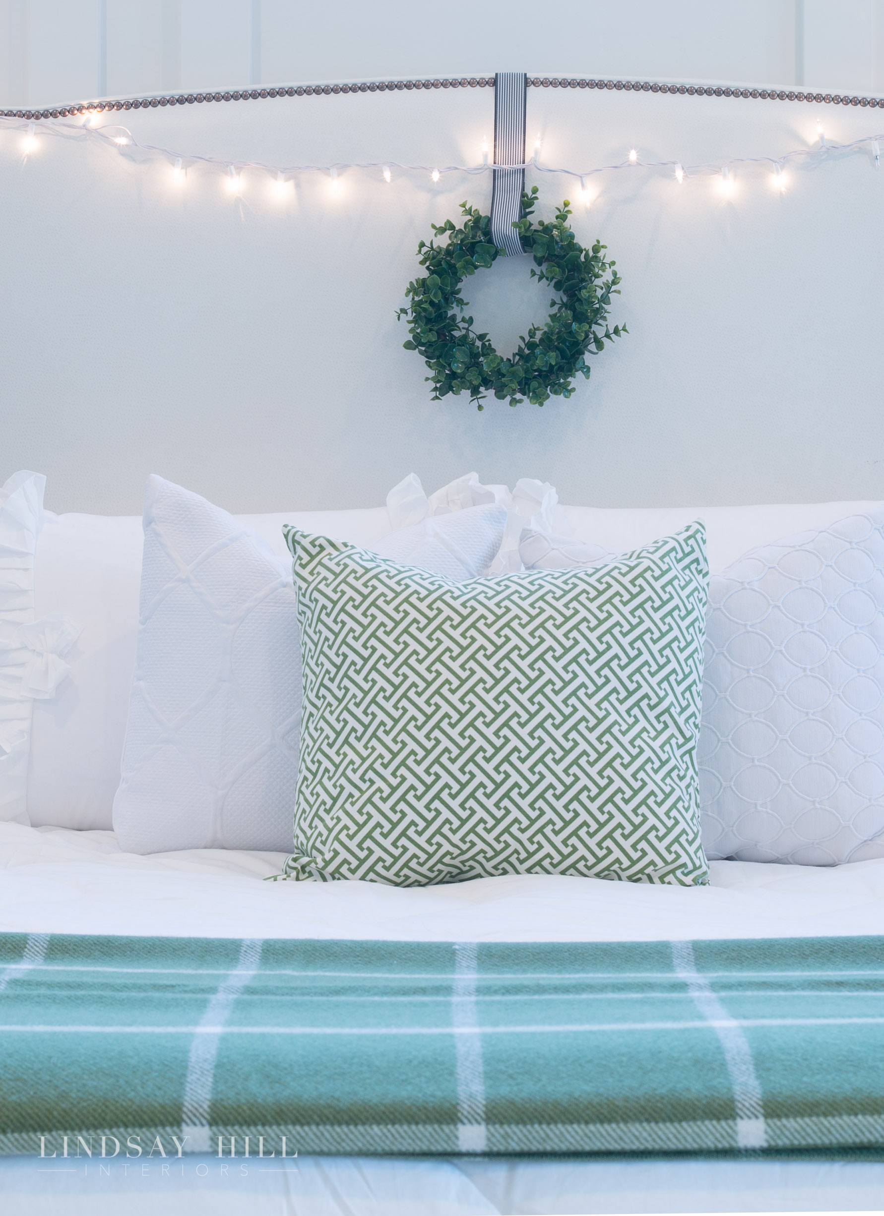 Lindsay Hill Interiors holiday home tour christmas headboard
