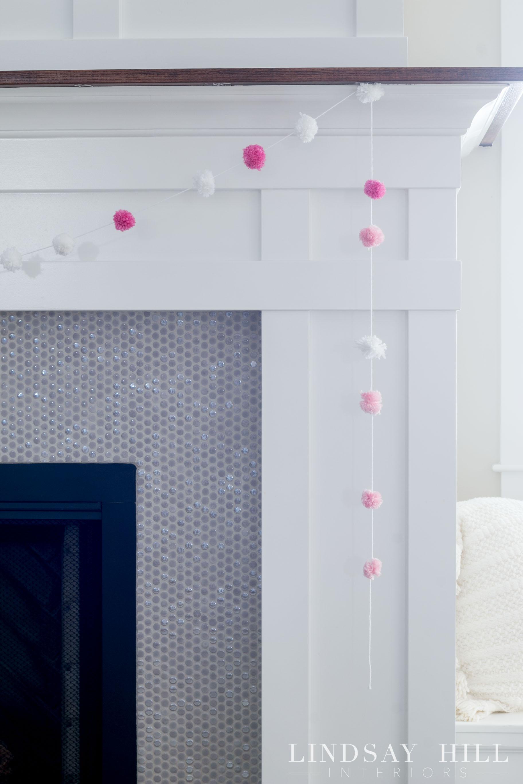 lindsay hill interiors simple valentine's day decor pom pom garland