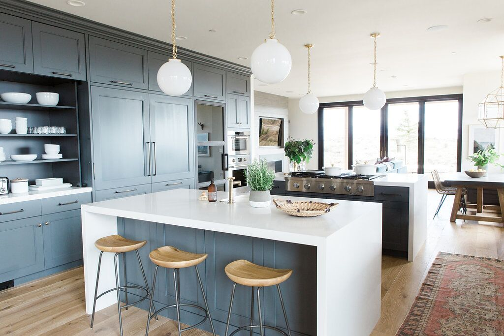 Adding Color To A Beautiful Open Gray Kitchen