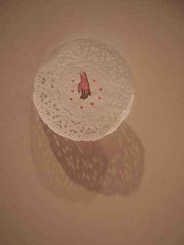 Lindsay Joy, doily hand, I'll Cry If I Want To - installed at School of Art Gallery, 2014