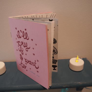 Lindsay Joy, zine shelf, I'll Cry If I Want To - installed at School of Art Gallery, 2014