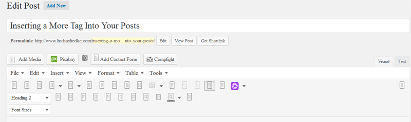 Text Tab in Editing View