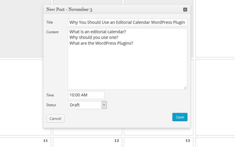 Adding a New Post to WordPress Editorial Calendar
