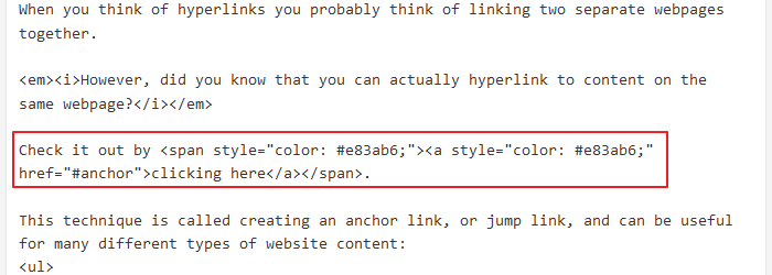 Anchor Link - Starting Point Code