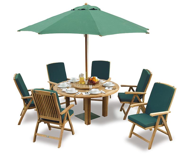 titan teak 6 seater round patio table