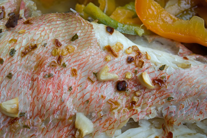 Sébaste rôti aux poivrons