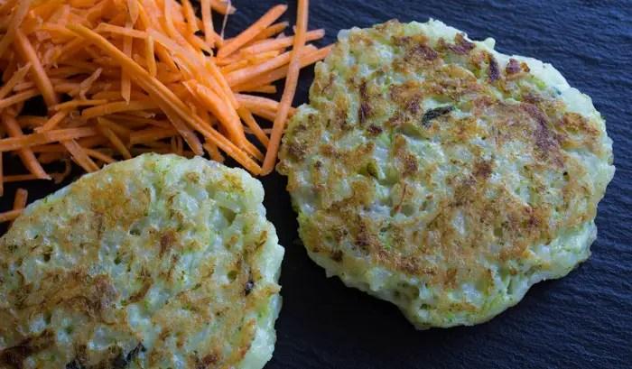 Galettes de riz aux légumes verts