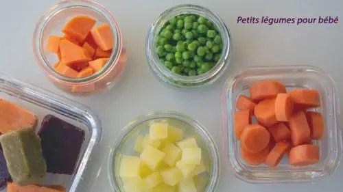 Petits légumes cuits pour bébé