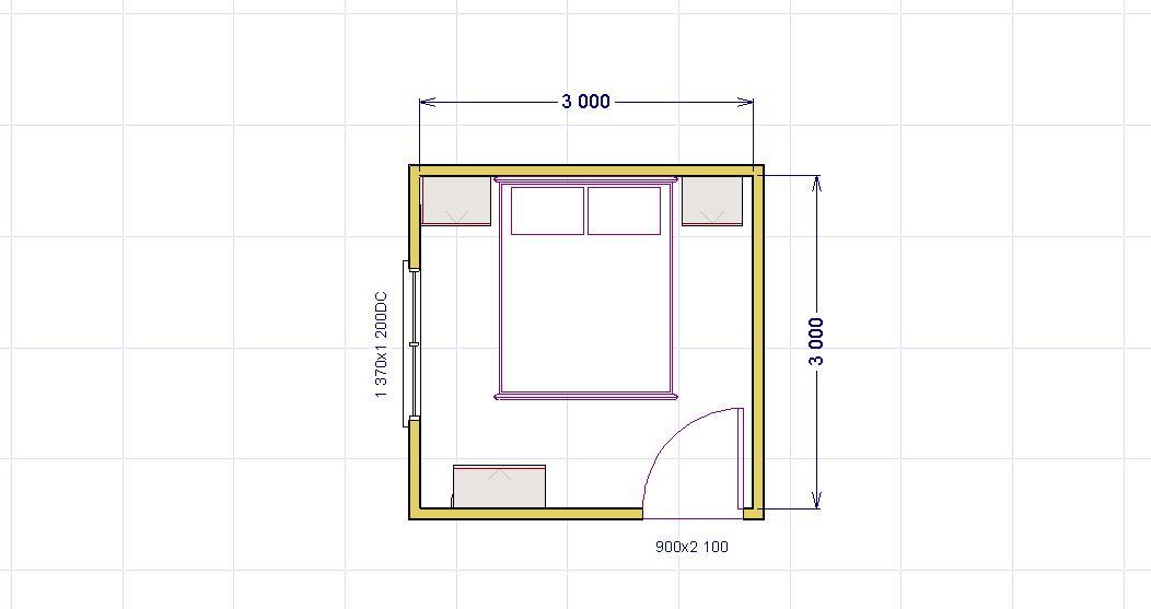Una camera matrimoniale 3x3 - lineatre - kucita - gli ...