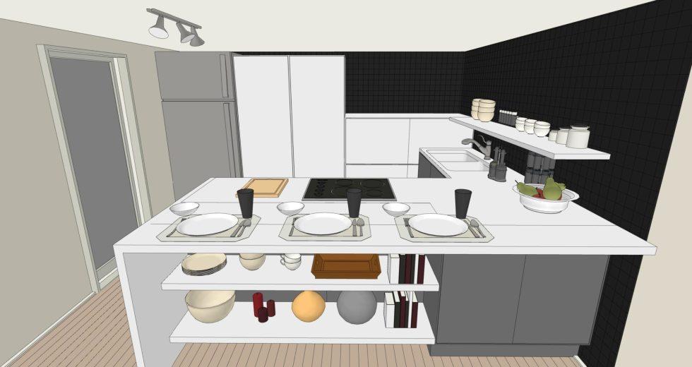 Cucina senza pensili bassa