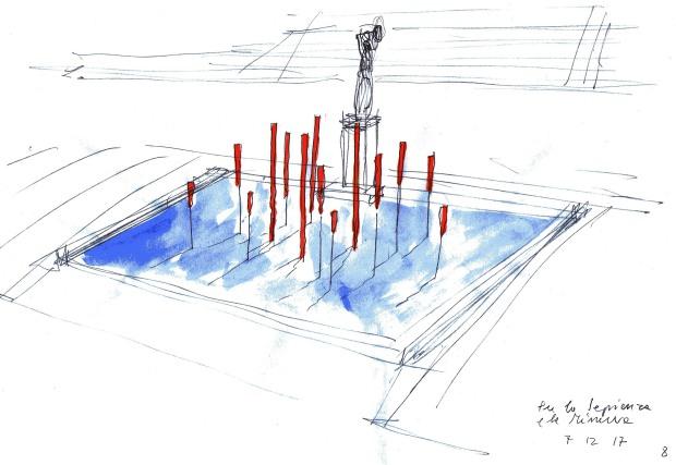 Fata Morgana/La fonte sospesa. Installazione scultorea di Alberto Timossi
