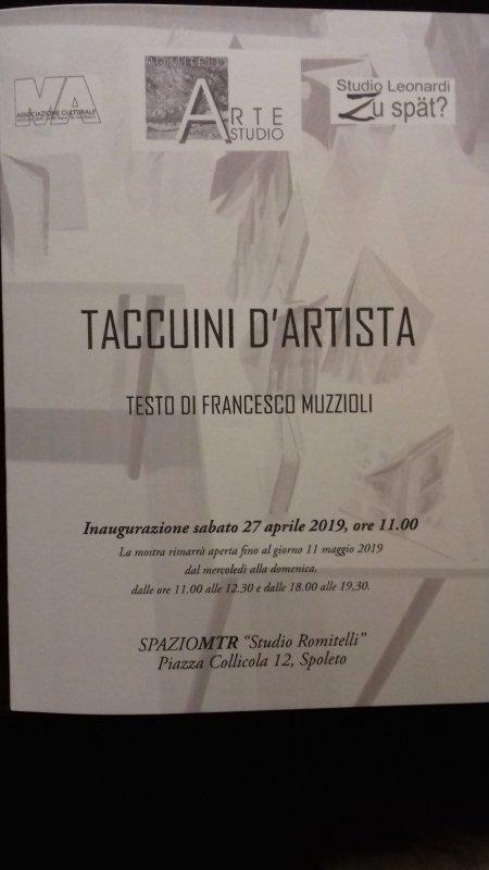 SPOLETO, 'TACCUINI D'ARTISTA' IN MOSTRA A STUDIO ROMITELLI
