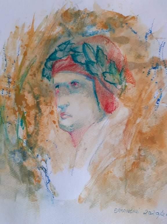 Il volto di Dante, acquerello del pittore fiorentino, Andrea Simoncini