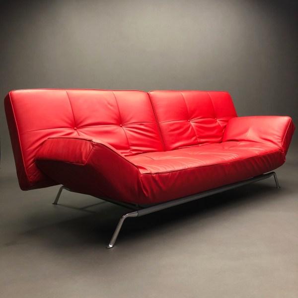 Canapé lit cuir rouge Smala Pascal Mourgue Cinna