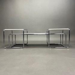 Lot de 3 tables basse Laccio Marcel Breuer Knoll