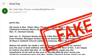 fake inheritance email