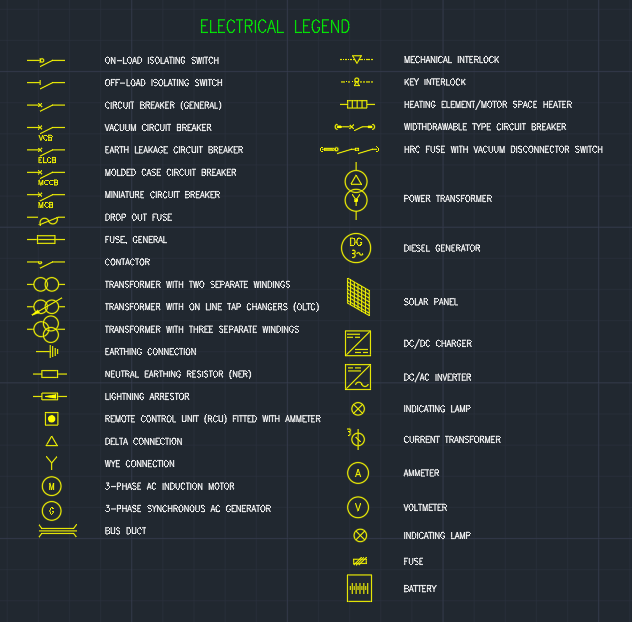 Electrical Legend Autocad Free Cad Block Symbol And