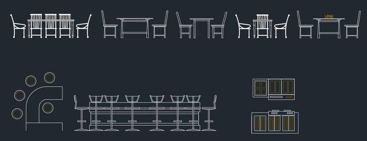 Dining tables elevation cad blocks free cad block and for Dining room elevation