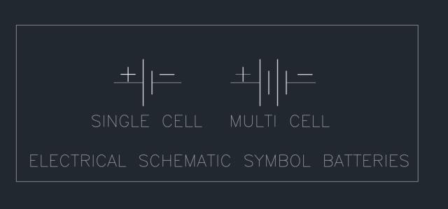 Electrical Schematic Symbol Batteries Autocad Free Cad Block