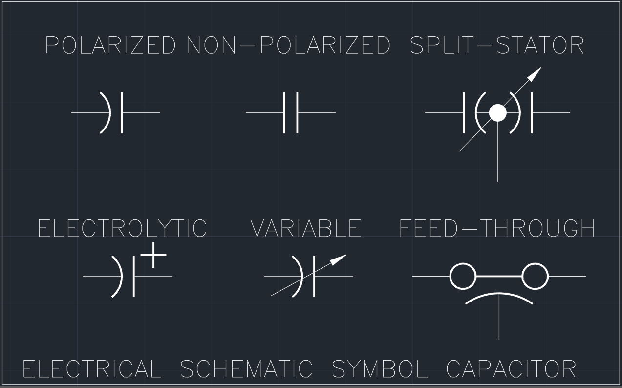 Electrical Schematic Symbol Capacitor Autocad Free Cad Block Wiring Symbols And Drawing