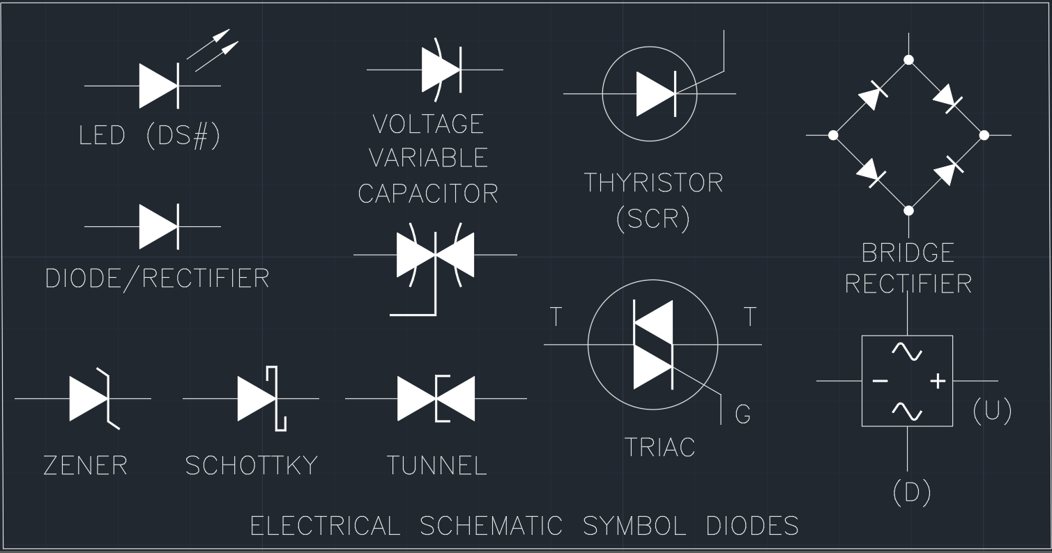 Astonishing Electrical Schematic Symbol Diodes Cad Block And Typical Drawing Wiring 101 Akebretraxxcnl