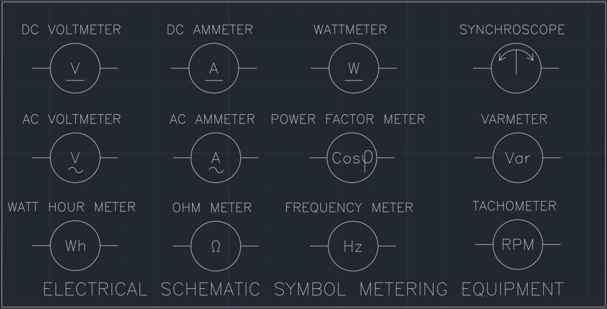 Electrical Schematic Symbol Metering Equipment Autocad Free Cad