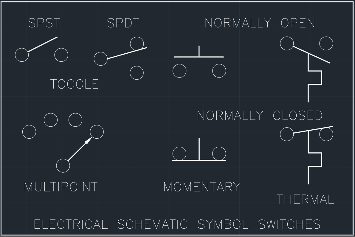 Electrical Schematic Symbol Switches | | AutoCAD Free CAD Block Symbols And  CAD Drawing