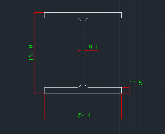 Wide Flange South African (HP) In dwg file format for AutoCAD and other 2D Software