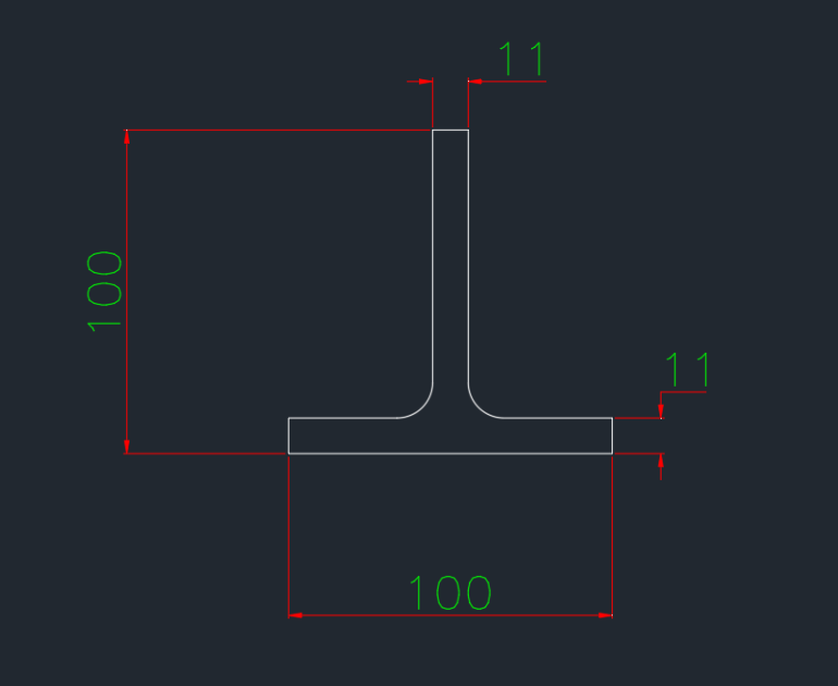 T-Section German (T) In dwg file format for AutoCAD and other 2D Software